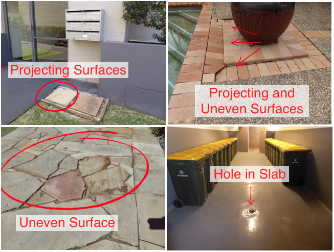 trip hazards and damaged or uneven surfaces